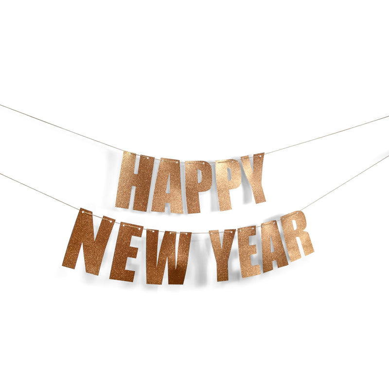 "Rose Gold ""HAPPY NEW YEAR"" Glitter Banner, Banners & Backdrops, Jamboree"