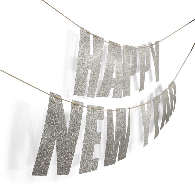 "Silver ""HAPPY NEW YEAR"" Glitter Banner, Banners & Backdrops, Jamboree"