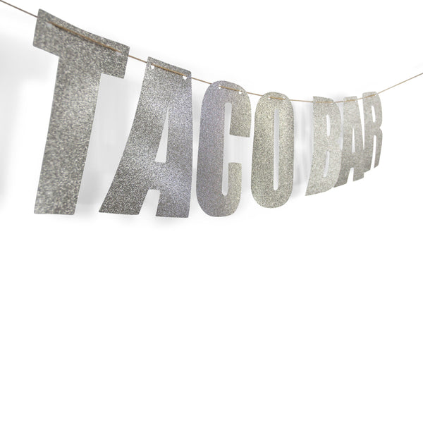 "Silver ""TACO BAR"" Glitter Banner, Decorative Balloons, Jamboree"