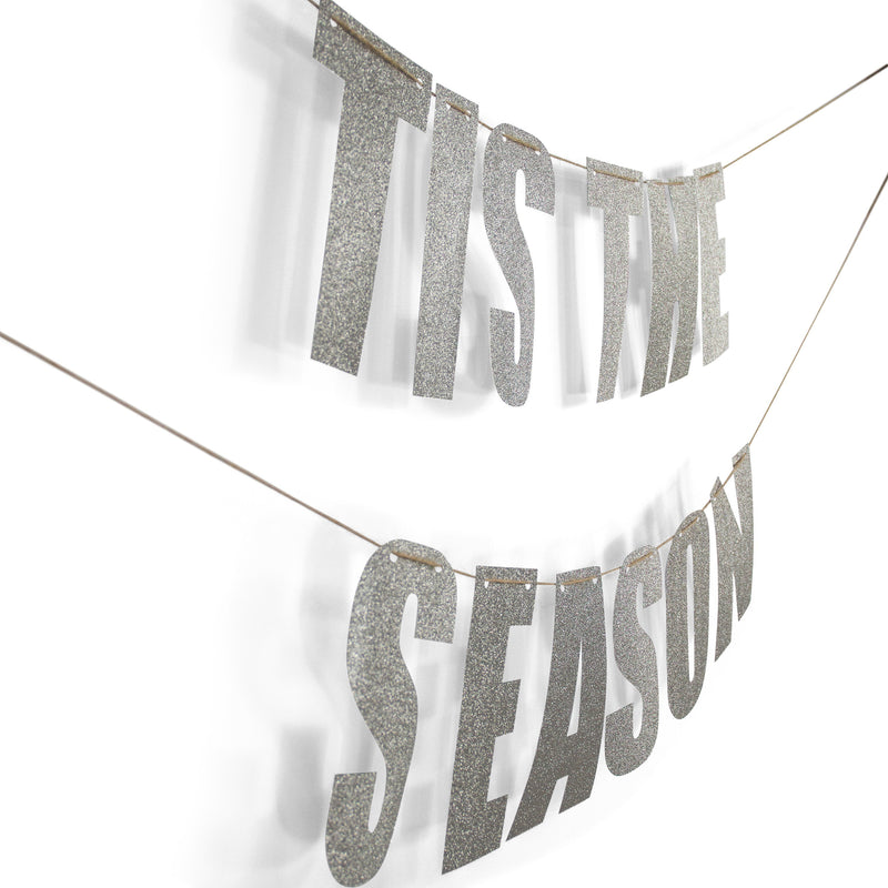 "Silver ""TIS THE SEASON"" Glitter Banner, Banners & Backdrops, Jamboree"
