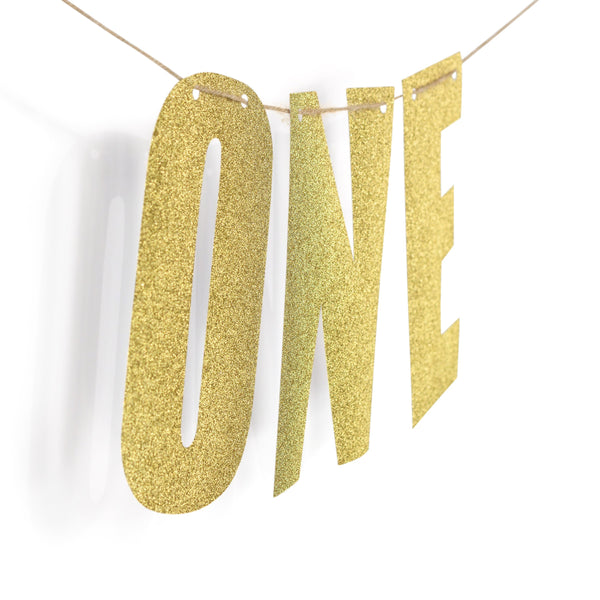 "Gold ""ONE"" Glitter Banner, Banners & Backdrops, Jamboree"