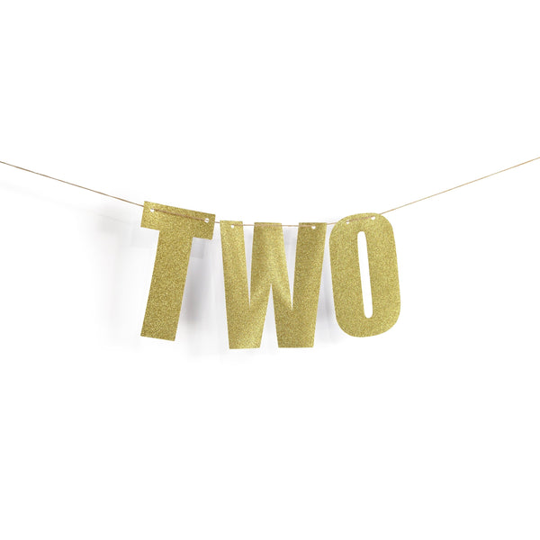 "Gold ""TWO"" Glitter Word Banner, Second Birthday Party, Second Anniversary, Number Banner, Photo Prop, Word Banner, Custom Banner, Sparkle, 2"