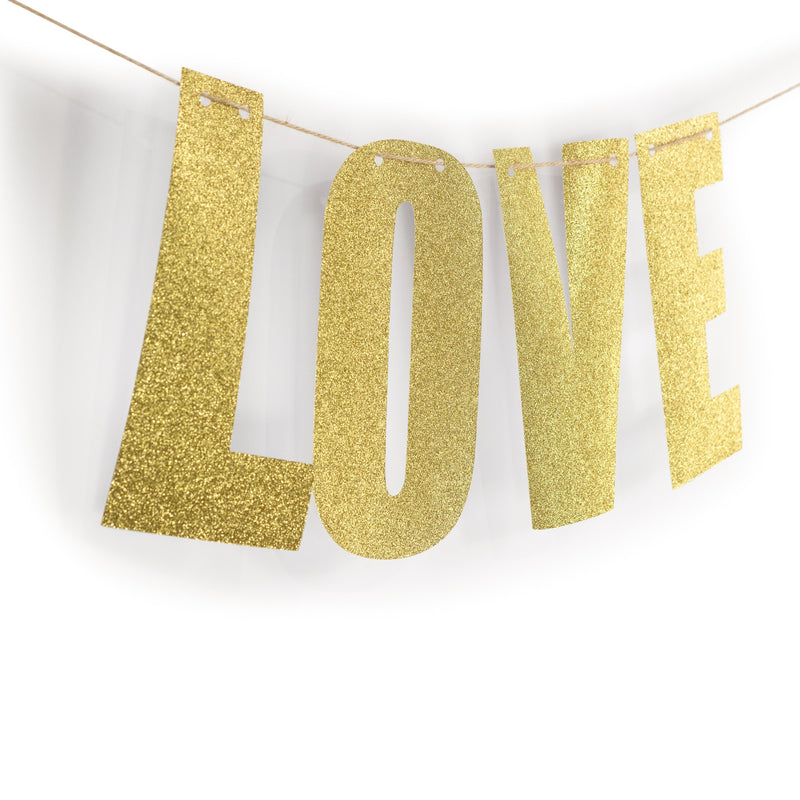 "Gold ""LOVE"" Glitter Banner, Banners & Backdrops, Jamboree"