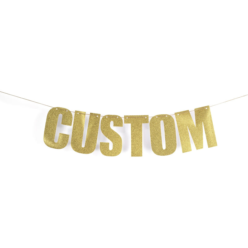Gold CUSTOM Glitter Banner, Banners & Backdrops, Jamboree