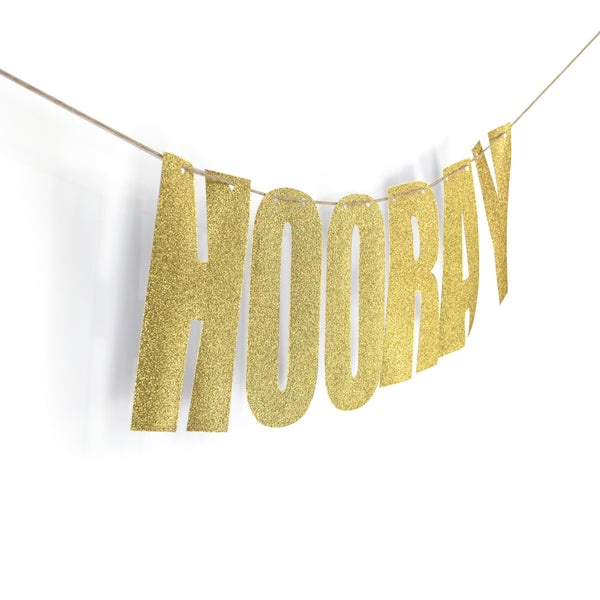 "Gold ""HOORAY"" Glitter Banner, Banners & Backdrops, Jamboree"