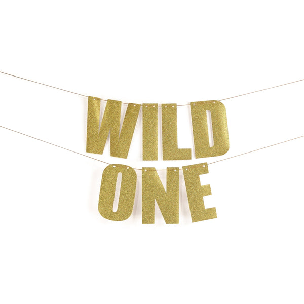 "Gold ""WILD ONE"" Glitter Banner, Banners & Backdrops, Jamboree"