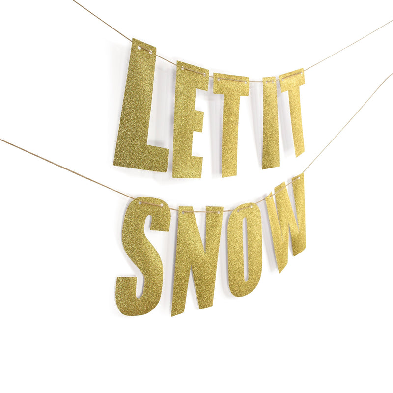 "Gold ""LET IT SNOW"" Glitter Banner, Banners & Backdrops, Jamboree"