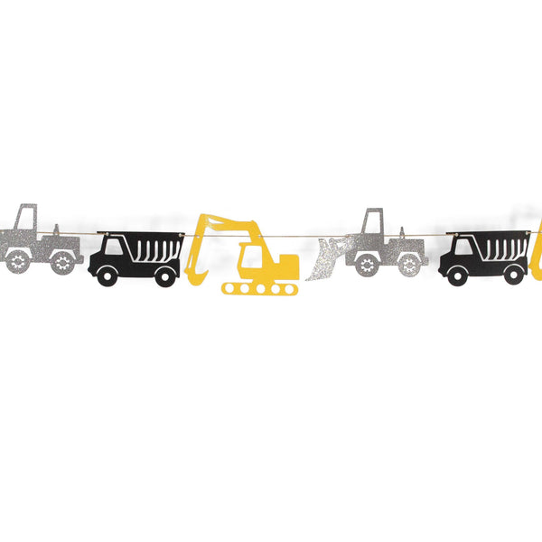 "SHIPS FREE** Truck Banner - Yellow Black Silver -""The Digger"" Boy Birthday Party, Baby Shower, Tonka, First, Photo Backdrop, Smash Cake Prop"