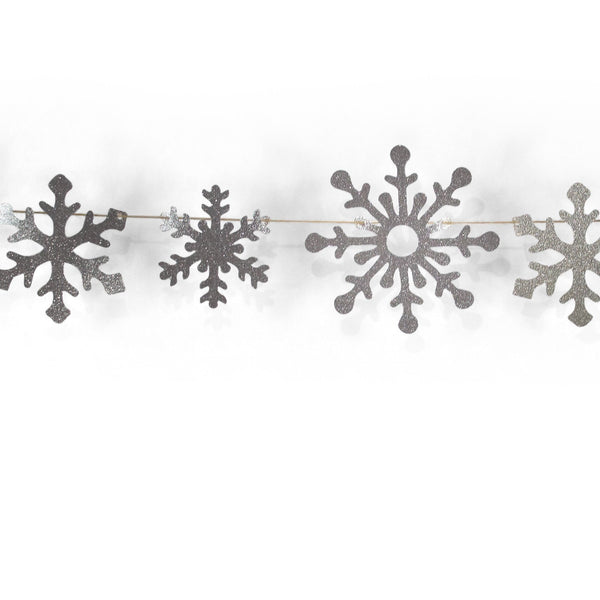 SHIPS FREE** Snowflake Glitter Banner - Silver - Christmas Decor, Winter Birthday Party, Baby Shower,  Winter, Holiday, Snow, Photo Backdrop