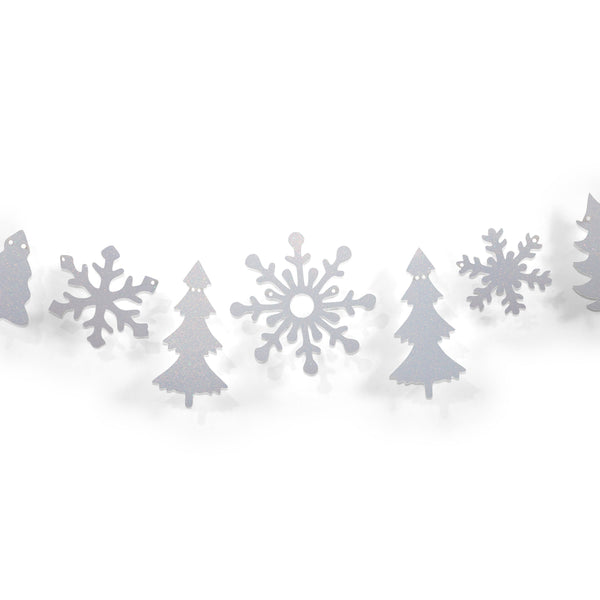 SHIPS FREE** Snowflake/Tree Glitter Banner - Silver - Winter Wonderland, Classic Christmas, Holiday Banner, Photo Backdrop, Christmas Tree