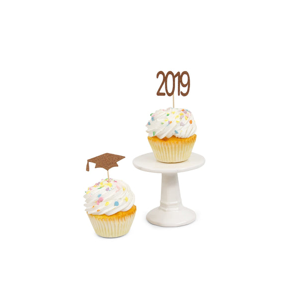 2019/Grad Hat Rose Gold Glitter Cupcake Toppers, Cake & Cupcake Toppers, Jamboree Party Box, Jamboree