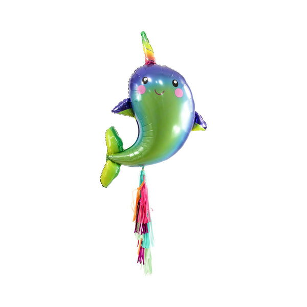 "SHIPS FREE** Giant Narwhal Balloon - Green Blue Multi - 40"" XL Balloon - Fairytale, Mermaid, Magical, Nautical, Party Decor"