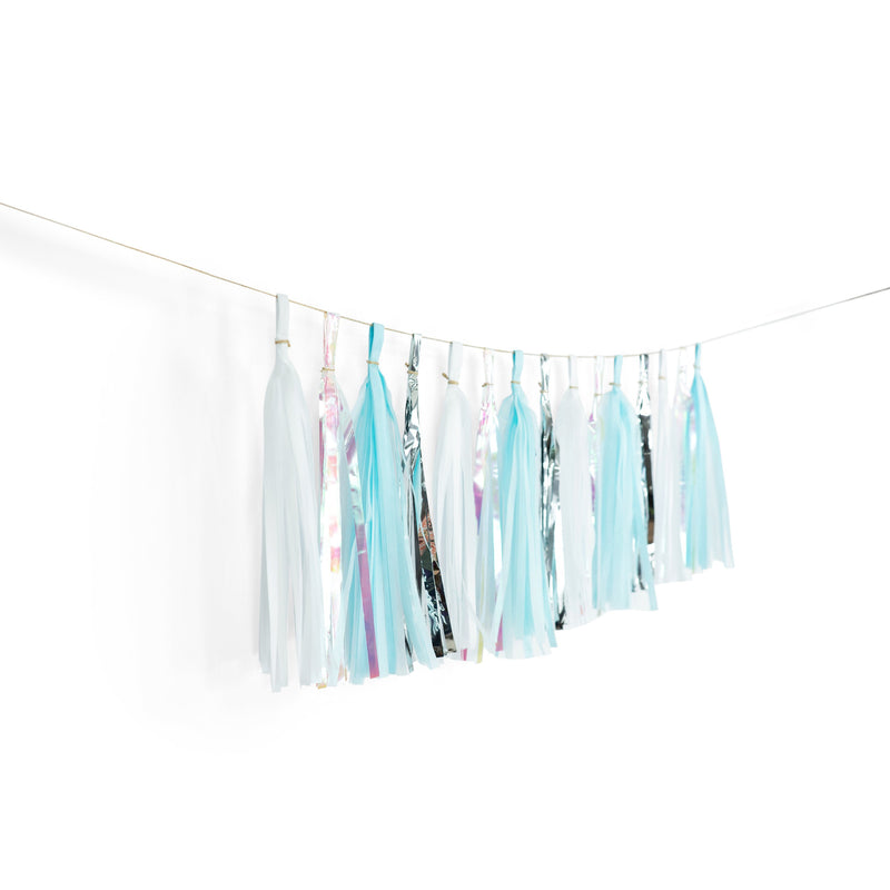 "SHIPS FREE** 15+ Tassel Garland - Blue White Silver Iridescent Tassel- ""Winter Blues"" Tassel Banner - Backdrop, DIY Holiday Decor, Christmas"