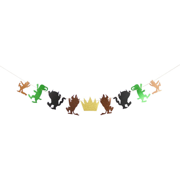 SHIPS FREE** Where The Wild Things Are Banner - Brown Green Black - Boy Birthday, Woodland Decor, Boy Baby Shower, Forest, First, Mythical
