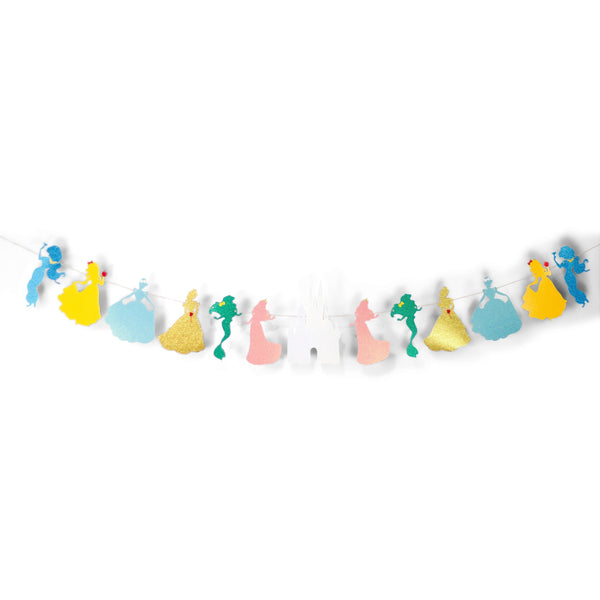 SHIPS FREE** Disney Princess Squad Glitter Banner - Pink Yellow Blue - Girl Birthday Party, Fairytale Decor, Magical, First, Photo Backdrop