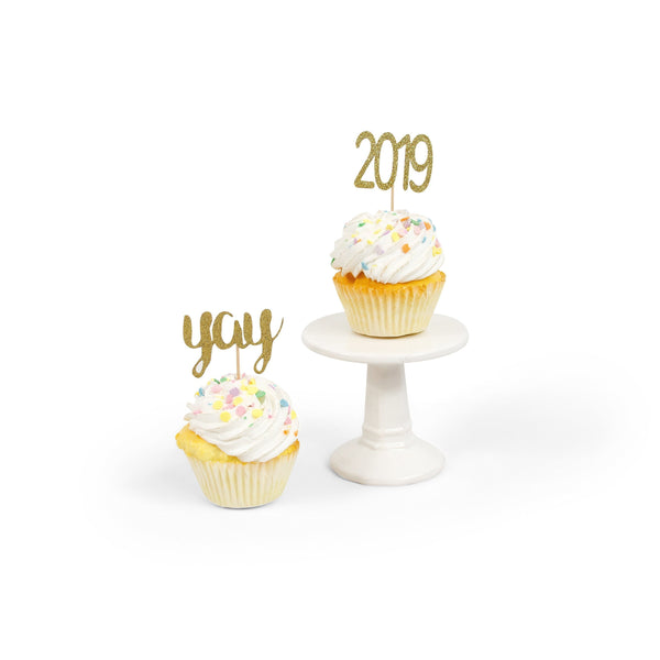 2019/Yay Toothpick Toppers - Gold Toothpick Topper - Cupcake Decoration, Graduation Party, Class of 2019 Decor, Script, Food, , Jamboree Party Box, Jamboree