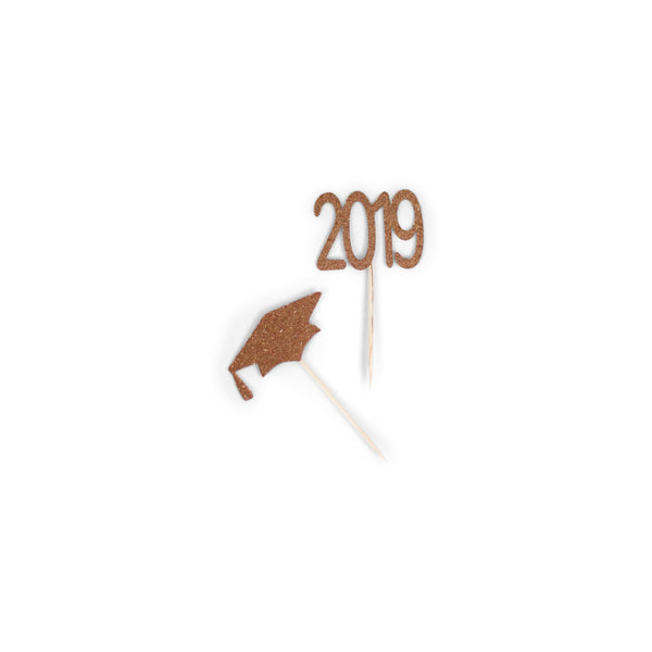 2019/Grad Hat Rose Gold Glitter Cupcake Toppers, Cake & Cupcake Toppers, Jamboree
