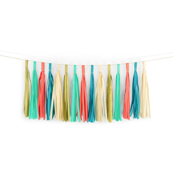 "SHIPS FREE** 15+ Tassel Garland - Gold Coral Mint Teal Tassels- ""Moana"" Tassel Banner - Backdrop, DIY Party Decor, Birthday, Shower"