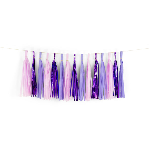 "SHIPS FREE** 15+ Tassel Garland - Purple Lavender Lilac Tassles- ""Sugar Plum"" Tassel Banner - Backdrop, DIY Party Decor, Birthday, Shower"