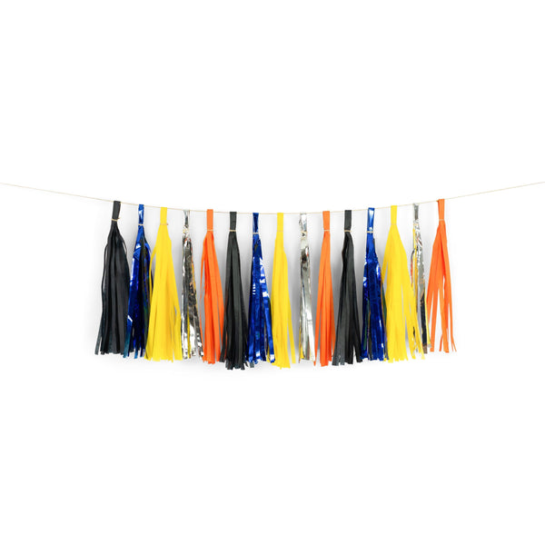 "SHIPS FREE** 15+ Tassel Garland - Black Yellow Tangerine Silver Tassles- ""The Digger"" Tassel Banner - Backdrop, DIY Party Decor, Boy Shower"