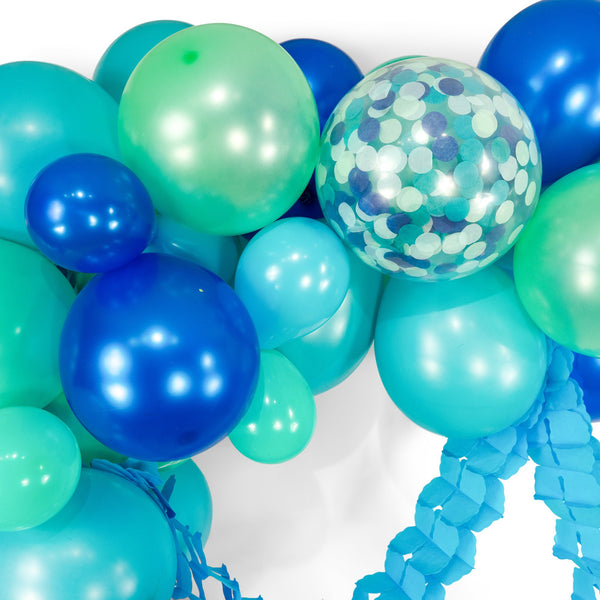 "SHIPS FREE** Giant Balloon Garland Kit -  Mint Blue Navy Teal Giant Balloon Arch - ""Under the Sea"" XL Boy Party Prop, Nautical, Ocean, Diy"