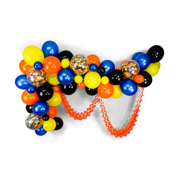 "SHIPS FREE** Balloon Garland Kit - Blue Orange Yellow Black Giant Balloon Arch -""The Digger"" XL Boy Party Prop, Boy Party Decor, Its a Boy"