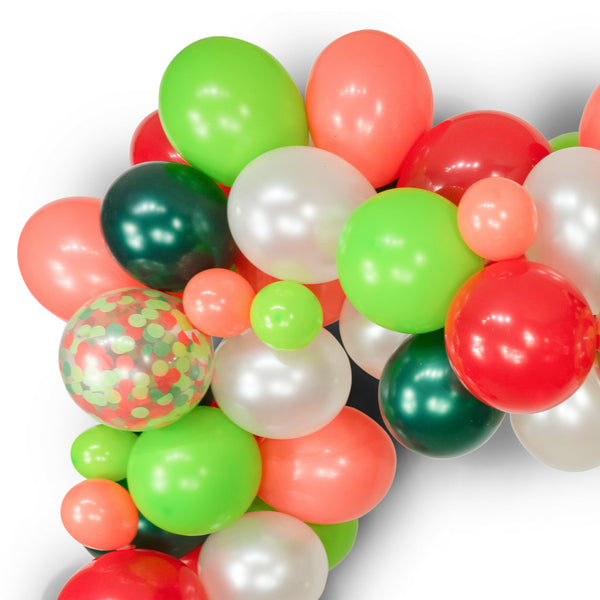 "SHIPS FREE** Balloon Garland Kit - Green Red White Coral Giant Balloon Arch -""Dr Seuss Christmas"" XL Party Prop, Holiday Backdrop, Classic"