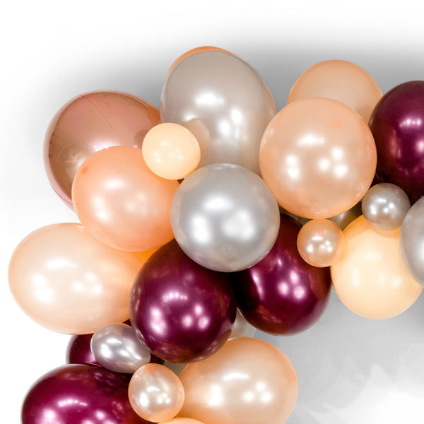 "SHIPS FREE** Giant Balloon Garland Kit - Burgundy Peach Silver Rose Gold Giant Balloon Arch -""Red Velvet"" XL Party Prop, Photo Backdrop"