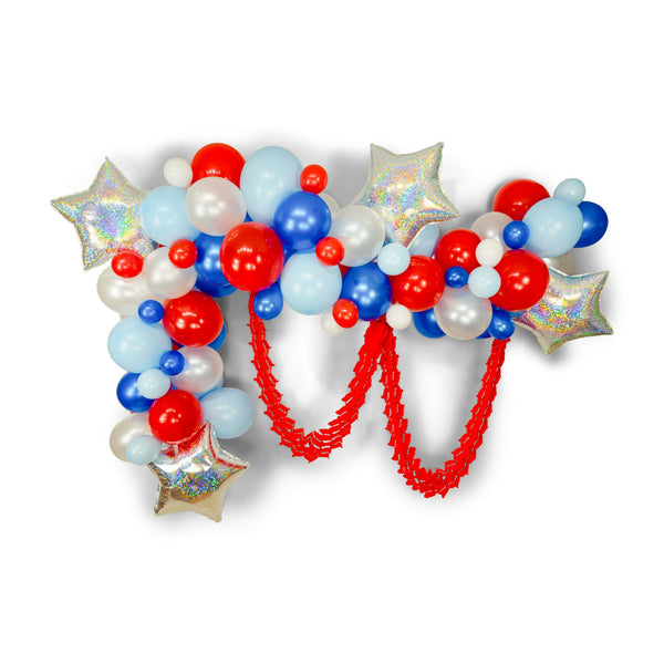 "SHIPS FREE** Giant Balloon Garland Kit - Red White Blue Giant Balloon Arch -""Evening Sparklers"" XL Party Prop, Summer Party, 4th of July"