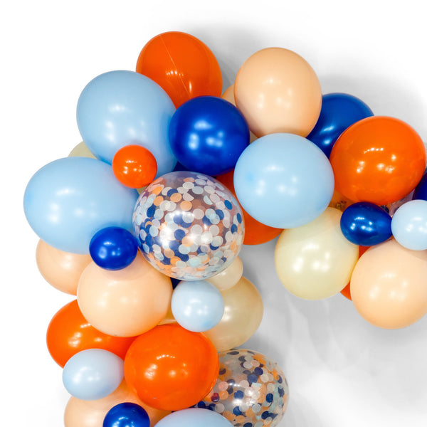 "SHIPS FREE** Balloon Garland Kit - Tangerine Navy Peach  Giant Balloon Arch -""Sand n' Sea"" XL Party Prop, Nautical theme Backdrop, Diy"