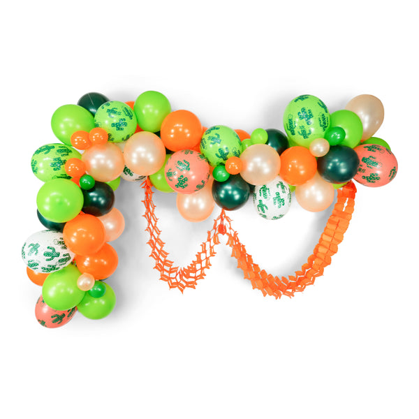 "Balloon Garland Kit - Green Peach Tangerine Giant Balloon Arch -""Viva La Fiesta #2"" XL Party Prop, Taco Party, Taco Tuesday, , Jamboree Party Box, Jamboree"