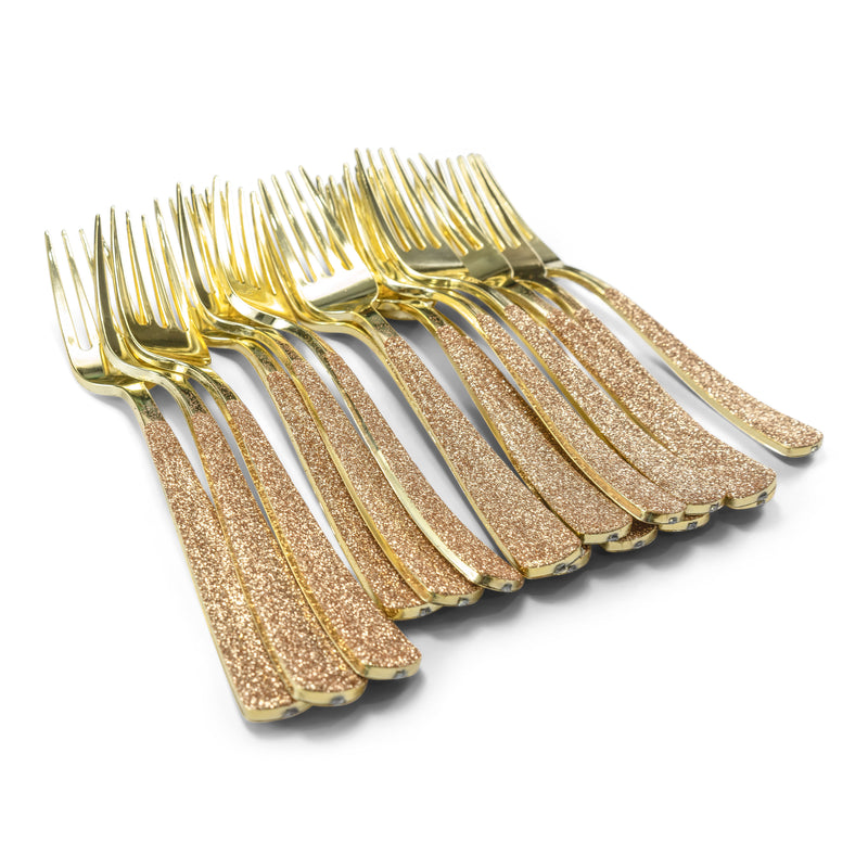 Rose Gold Glittered Gold Fork, , Jamboree