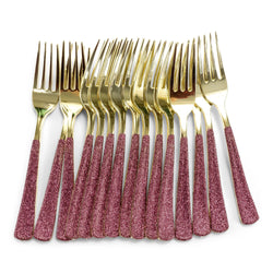 Burgundy Glittered Gold Fork, , Jamboree