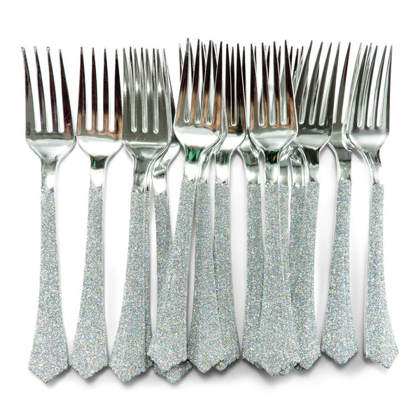 Holographic Glittered Silver Fork, , Jamboree