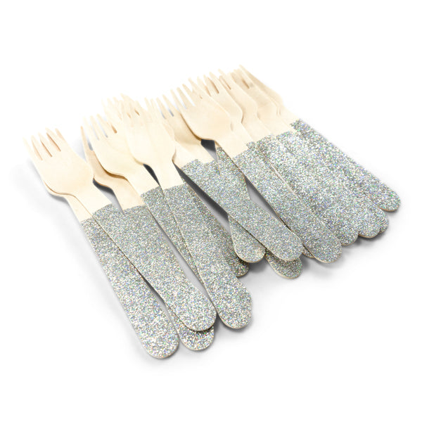 SHIPS FREE** 24pc+ Wood Glitter Forks - Holographic Glitter - Decorative Silverware, Disposable Tableware, Wooden Utensils, Iridescent Decor
