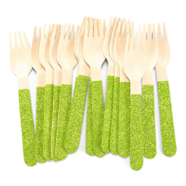 Lime Green Glittered Wood Fork, , Jamboree
