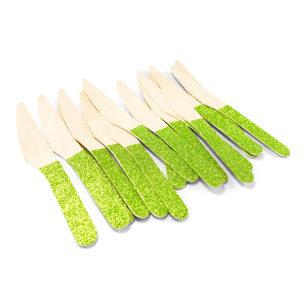 SHIPS FREE** 24pc+ Wood Glitter Knife - Lime Green Glitter - Decorative Silverware, Disposable Tableware, Wooden Utensils, Tropical Decor