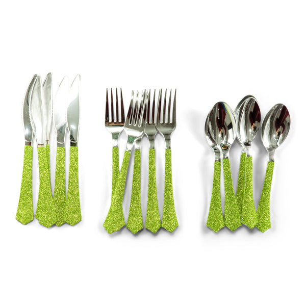SHIPS FREE** 24pc+ Silver Knives - Lime Green Glitter - Decorative Silverware, Disposable Tableware, Silver Utensils, Handmade, Dinosaur