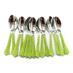 Lime Green Glittered Silver Spoon, , Jamboree