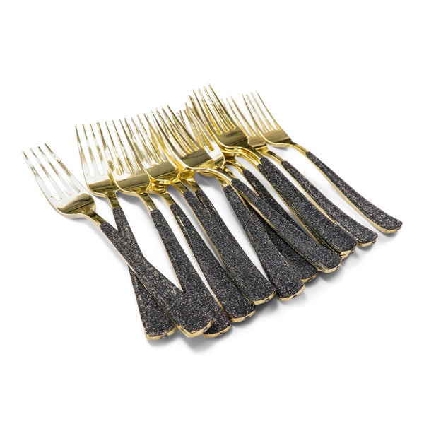 Black Glittered Gold Fork, , Jamboree Party Box, Jamboree