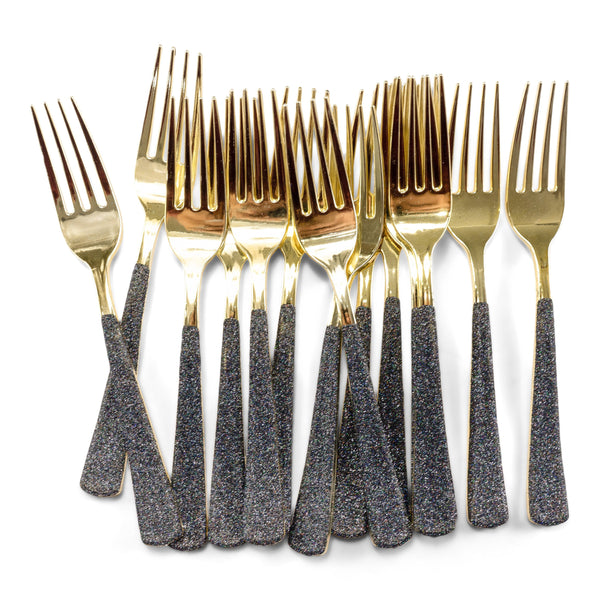 Black Glittered Gold Fork, , Jamboree