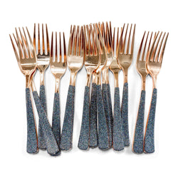 Black Glittered Rose Gold Fork, , Jamboree