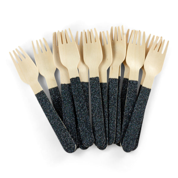 Black Glittered Wood Fork, , Jamboree