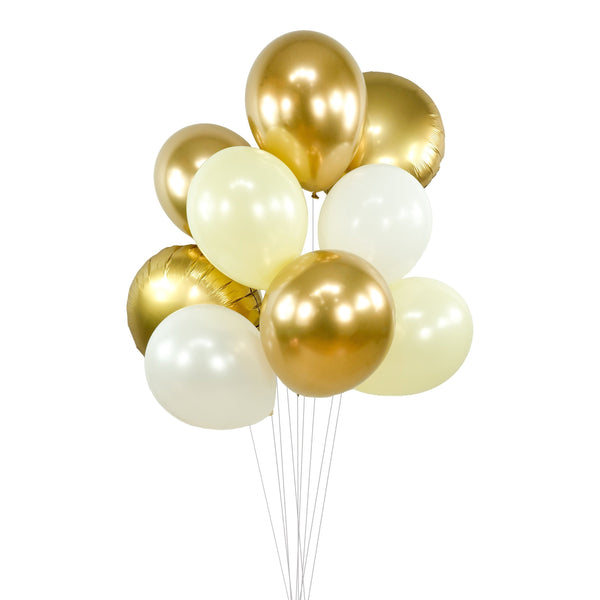 "Balloon Cluster - Gold Cream Pearl White Chrome Giant Balloons-  ""Cloud Nine"" XL Party Prop, Bridal Shower, Wedding Table Decor, Anniversary, , Jamboree Party Box, Jamboree"
