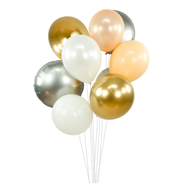 "Balloon Cluster - White Gold Peach Silver Giant Balloons- ""Bubbly Moscato"" XL Party Prop, Bridal Shower, Wedding Centerpiece, Anniversary, , Jamboree Party Box, Jamboree"