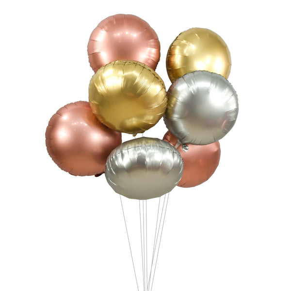 "Balloon Cluster - Rose Gold Silver Gold Chrome Giant Balloons-  ""Rounds"" XL Party Prop, Graduation, Bridal/Baby Shower, Wedding, Anniversary, , Jamboree Party Box, Jamboree"