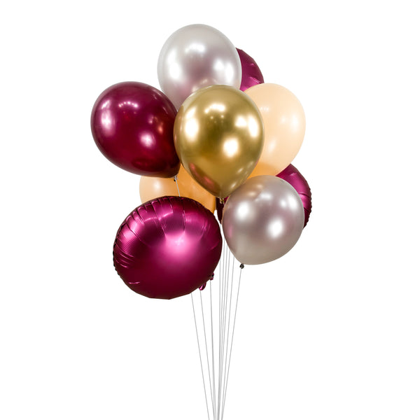 "Balloon Cluster - Burgundy Silver Peach Giant Balloons- ""Red Velvet"" XL Party Prop, Baby/Bridal Shower, Wedding Table Decor, Engagement, , Jamboree Party Box, Jamboree"