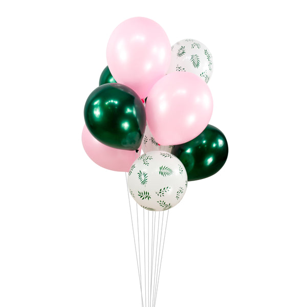 Balloon Cluster - Green Blush Pink Leaves Giant Balloons-  Pinks and Greens, XL Party Prop, Baby Shower, Wedding Table Decor, Summer Theme, , Jamboree Party Box, Jamboree