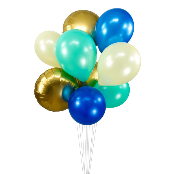 "Balloon Cluster - Gold Cream Navy Mint Giant Balloons- ""Coastal Cruiser"" XL Party Prop, Baby Shower, Wedding Table Decor, Smash Cake Prop, , Jamboree Party Box, Jamboree"