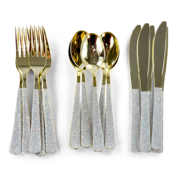 Holographic Glittered Gold Fork, , Jamboree
